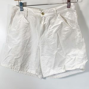 Columbia 8 Shorts White Cotton Pockets Flat Front